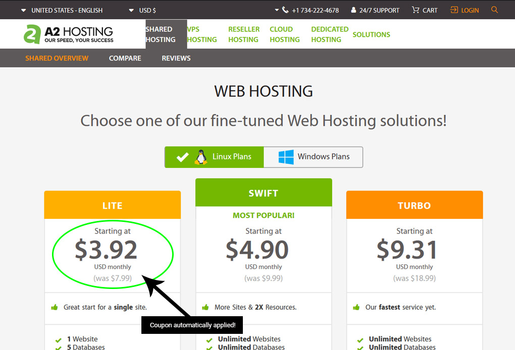 A2 Hosting coupon is automatically applied