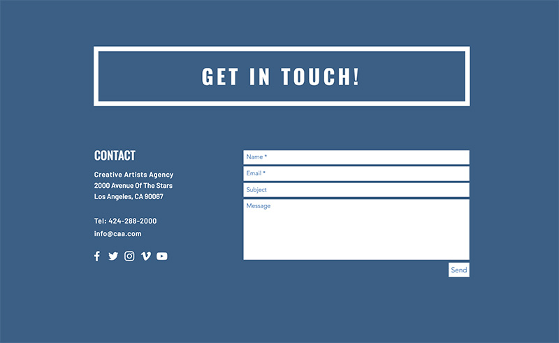 Add contact info to website