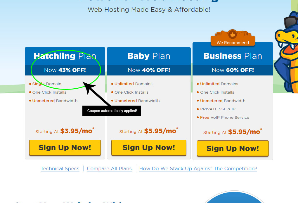 HostGator coupon is automatically applied